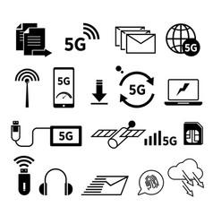 5g internet isolated icons fast web surfing vector