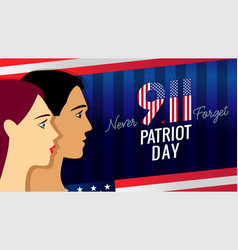 9 11 never forget patriot day banner with people vector