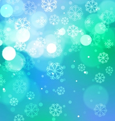 Abstract Bokeh Lights with Snowflakes on Blue vector image