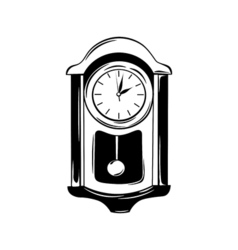 Antique wall pendulum clock icon isolated on white vector