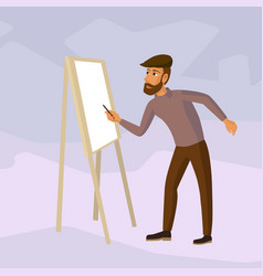 artist drawing at easel cartoon vector image