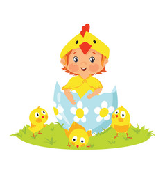baby wearing costume in easter egg with chicks vector image