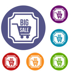 Big sale sticker icons set vector