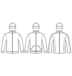 Blank caps and sweatshirts template vector image