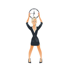 businesswoman holding wall clock under head for vector image