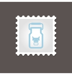 Can container for milk stamp Outline vector image