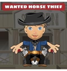 Cartoon character in Wild West - horse thief vector image vector image