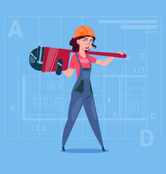Cartoon female builder wearing uniform and helmet vector