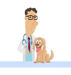 Cartoon Medical Man on white coat with dog vector