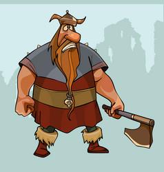 cartoon sad viking in a horned helmet with an ax vector image