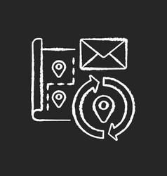 change address chalk white icon on black vector image