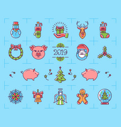 christmas icons set zodiac year of the pig 2019 vector image