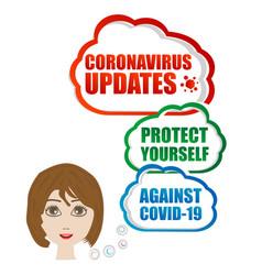 Corona virus updates protect yourself woman vector