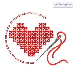 Cross stich heart vector