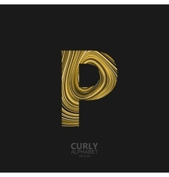 Curly textured letter p vector