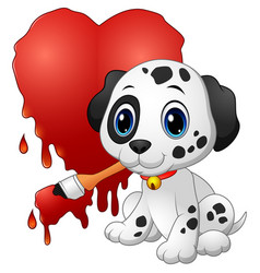 Cute dog with paintbrush of drawing a heart vector