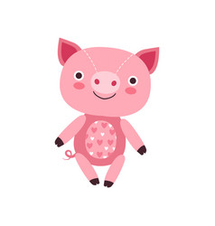 Cute soft pink piggy plush toy stuffed cartoon vector