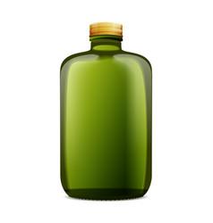 Dark amber glass bottle mockup vector