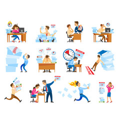 Deadline at work icons set vector