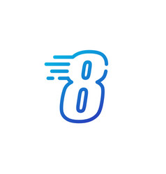 Eight 8 number dash fast quick digital mark line vector