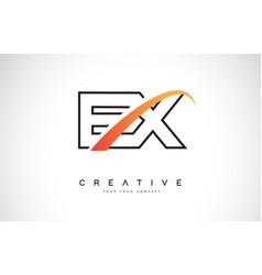 Ex e x swoosh letter logo design with modern vector
