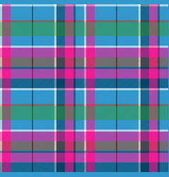 Fabric textile blue pink green check plaid vector