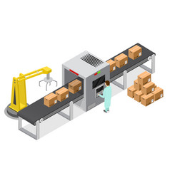Factory conveyor system belt isometric view vector