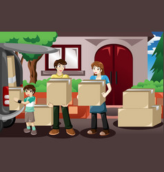 Family moving house vector