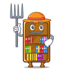 Farmer mascot bookcase beside the study desk vector