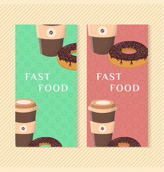fast food banners with donut and coffee graphic vector image