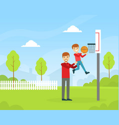 Father and son playing basketball outdoors happy vector