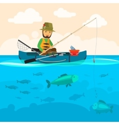 Fisherman on a boat vector image