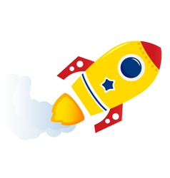 Flying cartoon rocket vector image