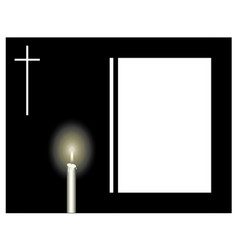 funeral frame with a candle and a cross sad vector image