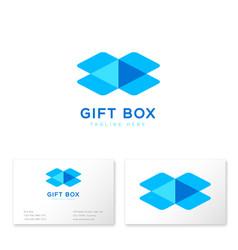 gift box logo online shop business card vector image