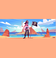 girl pirate on beach with jolly roger flag sword vector image