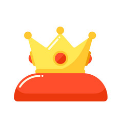 golden crown king on red pillow isolated vector image