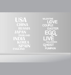 Grey and white interior background with words for vector