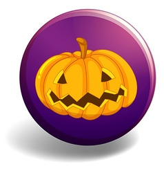 Halloween badge with pumpkin vector