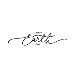 happy earth day black line style calligraphy vector image