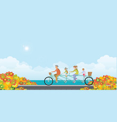 Happy family cycling tandem bicycle in autumn vector