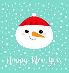 happy new year snowman round face head icon vector image