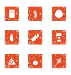 Harmful repast icons set grunge style vector