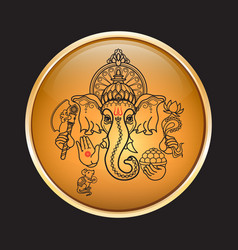hindu god ganesha hand drawn tribal style vector image