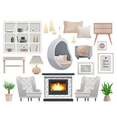 Hygge style elements set vector