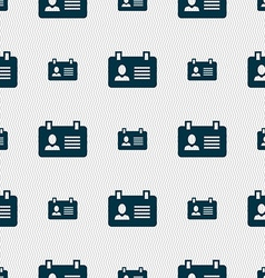 Identification card icon sign Seamless pattern vector image