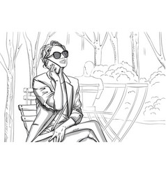 Joyful woman in sunglasses and suit talking on the vector