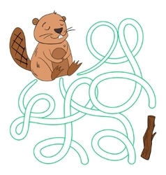 Labyrinth maze find a way beaver vector image