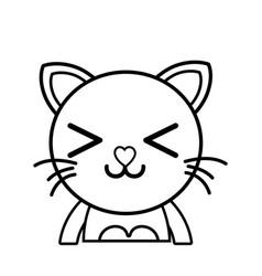 Line happy cat adorable feline animal vector