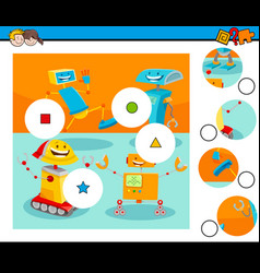 Match pieces puzzle with robot characters vector